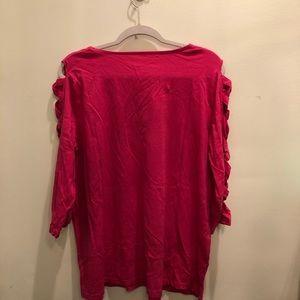 Roaman's - Bright Pink Lattice Sleeve Ultimate Tee
